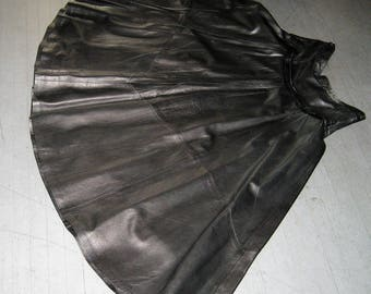 "Vintage Glove Leather Norma Della Lette Black Skirt 28""Waist, 33""L over 120"" wide Lined Size 10/48 EU N#883 DEL 28-11-78"