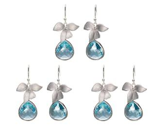 Aqua Orchid Earrings, Flower Earrings, Drop Earrings, Dangle Earrings, Wedding Jewelry, Bridesmaid Jewelry, Mother's Day