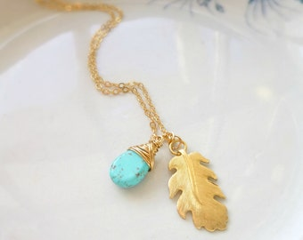 Gold Leaf Necklace, Leaf Necklace, Leaf Pendant, Turquoise Pendant, Turquoise Necklace, Gold Jewelry