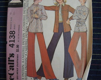 vintage 1970s McCalls sewing pattern 4138 unlined shirt jacket and pants size 10
