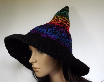 Witch Hat Crochet- The Craft Keeper-  Witch Hat Adult Chakra Multicolor Halloween Costume Accessories