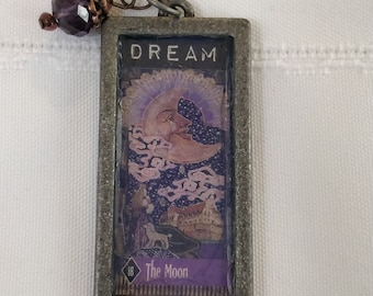 Tarot card pendant with charm