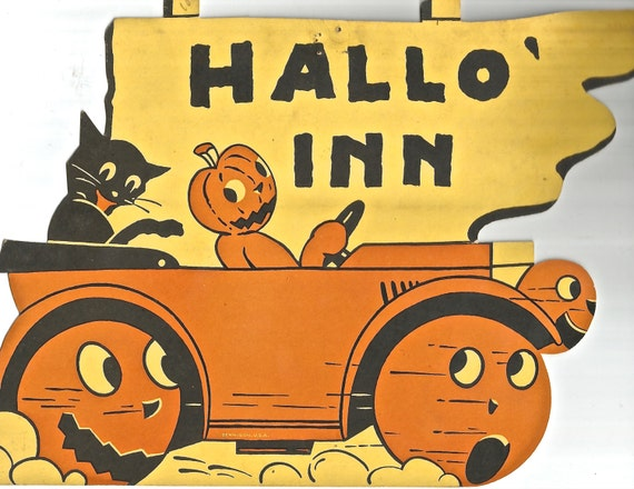 Vintage Halloween Die Cut Black Cat JOL Jack Olantern HalloInn Sign Digital Download Printable Image 300 Dpi From BigGDesigns On Etsy Studio