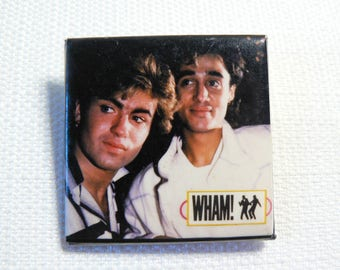 Vintage 80s Wham! George Michael and Andrew Ridgeley Pin / Button / Badge