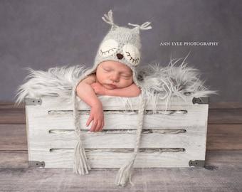Newborn owl - Owl boys hat - Photo prop hat - Newborn props - Baby boy props - Photo prop owl - Baby boy props - Photo prop owl hat - Grey