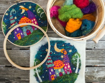 Needle Felting VIDEO Tutorial with Kit Included - Whimsy Houses