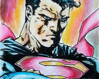 Superman Ink Painting Original Comic Graffiti Art illustration Street art Tcat Pop Art