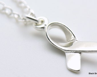 Sale / On Sale / Clearance Jewelry / Jewelry on Sale / Marked Down / Ribbon Charm Necklace | Awareness Necklace | Sterling Silver - NE00387