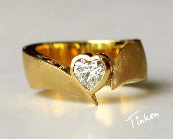 Unique diamond engagement ring fine jewelry 14K yellow gold