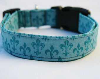 Dog Collar-Fleur De Lis Blue-Adjustable Dog- Pet Collar- Pet Accessories- Supplies