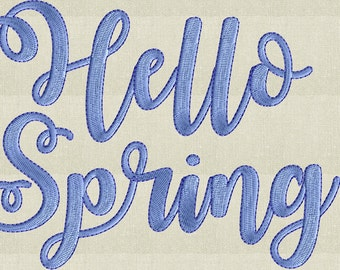 "Hello Spring! Embroidery Design ""Hello Spring!"" Embroidery DESIGN FILE - Instant download - Vp3 Exp Dst Hus Jef Pes formats"