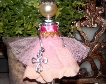 Delicate Cross Flower Tulle Dress Metal Alloy Doll Pendant