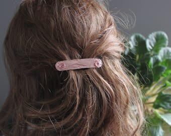 Copper hair clip, Geometric hair clip, Rectangular hair clip, Modern hair accessory, Hair barrette - HP049