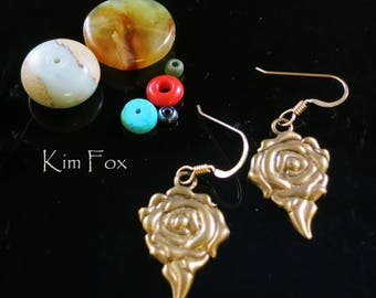 Dimensonal Rose Earring in Sterling Silver Golden Bronze designed by Kim Fox