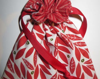 Holiday Red Leaf Lined Drawstring Fabric Gift Bag Or Jewelry Bag