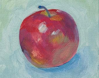 Apfel Gemälde. Original Bild. Leinwand. Küchendeko. Malerei. Stillleben. Wohnungseinweihung. Wand Deko. Kleine Leinwand. Gemalt. Geschenk
