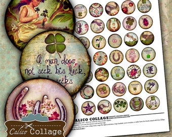 Feeling Lucky Digital Collage Sheet 1in Circles for Bottle Cap Jewelry , Magnets, Bezel Settings, Pendant Images, Decoupage Paper,
