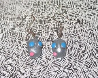 Robot Gir Invader Zim Earrings Sterling Silver Hooks OOAK Handmade Custom one of a kind by TorresDesigns