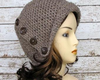 Brown Wool Blend Woman's Winter Cloche Hat