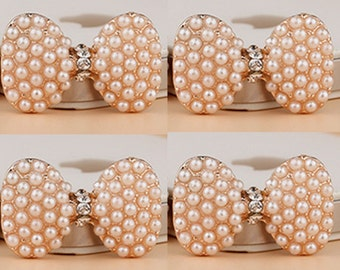 4 Flat Back Rhinestone Button Pearl Button Bow Button (30x21 mm) DT-024