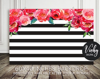 Bridal Shower Backdrop - Birthday Backdrop - Rose  Backdrop  - Baby Shower Backdrop - Dessert Table Backdrop - 60x40 Inches - You print