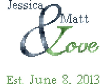 Ampersand Love Cross Stitch Pattern, Ampersand with Bride and Groom Names and wedding date cross stitch, modern wedding cross stitch chart