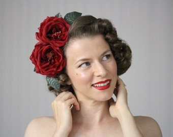 """Red Rose Headpiece, Large Floral Fascinator, Silk Flower Headband Womens, Hair Accessory Adult Hair Band, Vintage - """"Rose Upon Her Brow"""""""