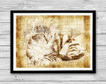 Little Kitty print, Archival art print with style of old geographic maps, Cat Art Print, Vintage decor, Cute Cat Wall Art, Cat Lovers gift