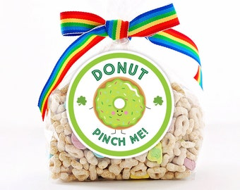 Personalized Stickers DONUT Pinch Me! Stickers, St. Patricks Day Circle Stickers, St. Patricks Day Donut Stickers, Dont Pinch Me Stickers
