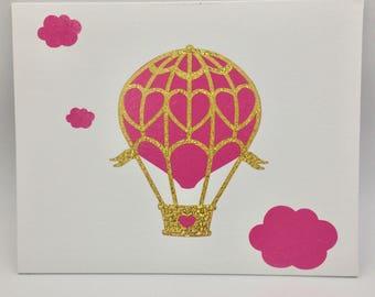 Pink and Gold Hot Air Balloon Print on Canvas Panel, Nursery Decor, Birthday Decoration, Wall Art, Nursery Wall Decor, Canvas Wall Print