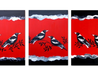 red art, red, with, black, paintings, from, south, australia, australian, artist, on, 3, canvases, magpie, magpies, art, painting, triptych