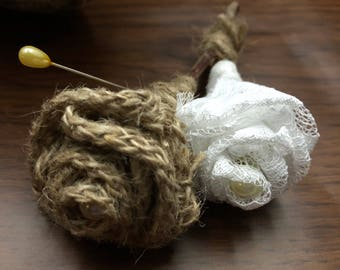 Burlap and Lace Boutonniere w/ Stick Stem, Groom's Boutonniere, Burlap Rose, Lace Rose, Rustic Wedding, Rustic Boutonniere for Wedding