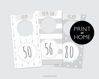 Printable Nursery Closet Dividers- European Sizes | 8 in set | PDF Instant Download | Baby Clothes Organizer Hanger Gender Neutral Gray