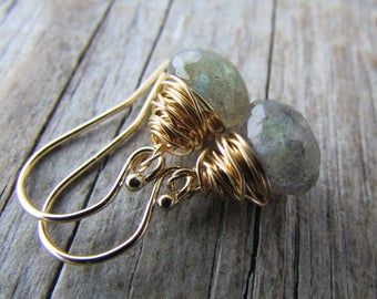 Labradorite Earrings, gold, wire wrapped, small simple briolettes