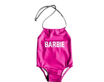 Girls One Piece Swimsuit ~ Toddlers Halter Bathing Suit ~ Toddler Girl Swimsuit ~ Toddler Kids Barbie Swimsuit ~ Size 12M to 6T