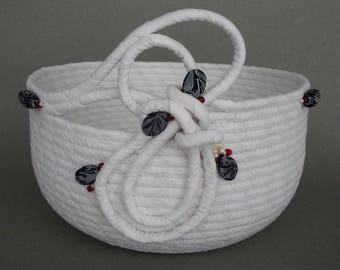 Whtie Swirl Basket, coiled fabric basket, clothesline basket