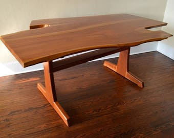 Handcrafted Cherry Wood Sculptural Live Edge Dining Table