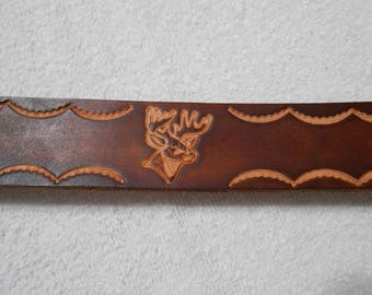 """Genuine Leather, 1 1/2"""" Brown Leather Belt with Buck Head Stamp, Deer, Personalized Belt"""