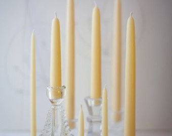 "Pure Beeswax Hand Dipped Taper Candles - 12"" (6 pair box)"