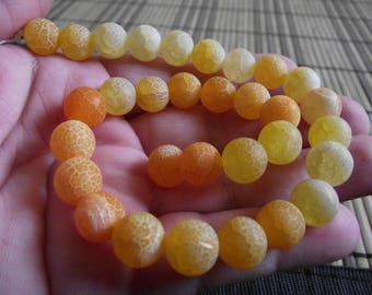 FIRE DRAGON VEINS AGATE BEADS 4 ORANGE 10MM.