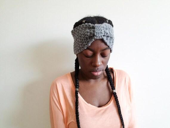 Grey Boho Headband - Gifts for Her - Womens Ear Warmer Headwrap - Gift Ideas for Women - Bow Style Turban Headband - Best Friend Gift