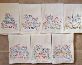 Sew Sweet Days of the Week Embroidered Flour Sack Dish Towels