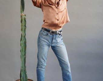 Cropped silk top, Pajama shirt, Silk satin blouse, Hip-boho chic look, Ella top