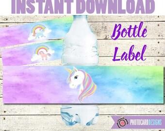 Unicorn Bottle Label, Unicorn Party, Unicorn Water Bottle label, Water Bottle, Unicorn decoration, UNICORN, Party, Digital, Printable,