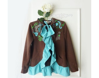Hoodie Sweatshirt, hooded Jacket, FREE SHIPPING, ruffle, size small medium.  high low jacket, boho coat, junior hoodie, teal and brown