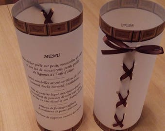 Menu candle wedding themed treats adaptable to other themes