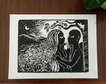 """Garden of Eden - Hand Printed, Woodcut Print (11"""" X 14"""")"""