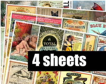 VERY VINTAGE - Digital Printable Collage Sheets - Vintage Ephemera Sampler with French Perfume, Apothecary Labels, Circus Animals, Postcards