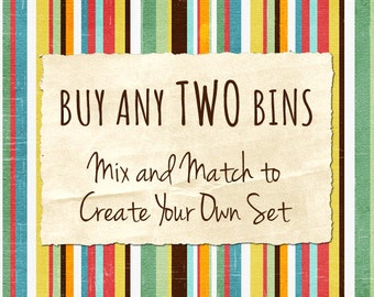 "Pick any TWO 11"" Bins, Mix and Match Any 10.5 x 10.5 x 11 Designs Currently Listed, Kids Storage, Nursery Storage, Storage Bin, Kids Decor"