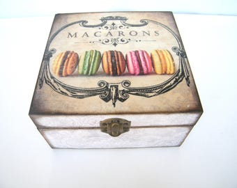 Macarons Vintage Tea Box, Wooden Tea caddy, Tea Bags Organizer, Home Decor, Wood jewelry storage box, Housewarming gift, tea lovers gift